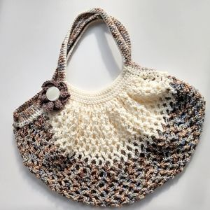 Bag Market Hobo Crochet Handcrafted Small Brown